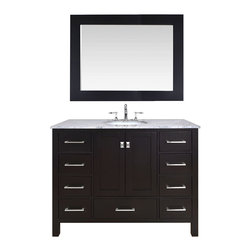"48"" Malibu Espresso Single Sink Bathroom Vanity With 47"" Mirror - An ideal complement to a contemporary decor, the 48"" Malibu Single Sink Vanity embodies the clean edges and sophistication of modern design. The rich espresso cabinet, made of solid oak lends a warm feeling to your bathroom that contrasts beautifully with the Carrara White Marble top. Sleek and simple stainless steel hardware dresses up the European soft-closing sliders and doors, which give you ample space to store your bathroom items."