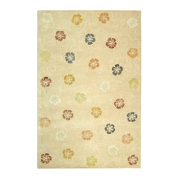 Safavieh - Martha Stewart Rectangular Rug in Blush Beige (4 ft. 3 in. x 2 ft. 6 in.) - Size: 4 ft. 3 in. x 2 ft. 6 in. Country style. Floral design. Hand tufted weave. Made from wool. Made in India. Pile height: 0. 63 in. Artistically blending the weaving cultures of Japan and Italy, the overall flower motif of Garland was adapted from a lavishly embroidered vintage kimono, and then richly embellished with a vermicelli pattern found in Italian silks since the 18th century. This versatile design is created with shimmering viscose yarns for pattern definition against a luxuriously thick matte textured background of fine New Zealand wool. Care Instructions: Vacuum regularly. Brushless attachment is recommended. Avoid direct and continuous exposure to sunlight. Do not pull loose ends clip them with scissors to remove. Remove spills immediately; blot with clean cloth by pressing firmly around the spill to absorb as much as possible. For hard-to-remove stains professional rug cleaning is recommended.