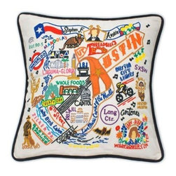 CATSTUDIO - Austin Pillow by Catstudio - Celebrate the states! These pillows from Catstudio's Geography Collection are delightful keepsakes for remembering the hometown you grew up in or commemorating your favorite vacation spot. Embroidered entirely by hand (over 35 hours go into each one!) with black velvet piping, these make the perfect gift for all occasions! Removable cotton cover and polyfill pillow form. Cover is dry clean only.