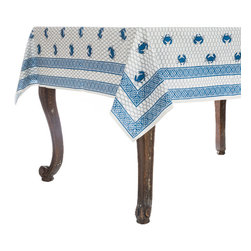 Origin Crafts - Chesapeake crab tablecloth - Chesapeake Tablecloth 100% Cotton, block printed. Machine wash, tumble dry low, warm iron as needed. Made in India. Dimensions (in): Square - 55x55 - Seats 2?4 Rectangle - 60x90 - Seats 4?6 Rectangle - 60x120 - Seats 8?10 By Pomegranate Inc. - Pomegranate's vivid prints and wonderfully refreshing