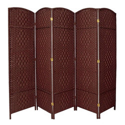 "Oriental Furniture - 6 ft. Tall Diamond Weave Fiber Room Divider - Dark Red - 5 Panel - This Diamond weave room partition is a practical accessory and beautiful decorative accent. The arch top panels are wider than most, almost 20"". Tough, durable spun plant fiber cord is interwoven with quarter inch thick wooden dowels. The distinctive ""diamond"" shape medallions are repeated five per panel, creating a stylish rattan look decorative screen as well as a slightly larger floor screen room divider. The spun plant fiber cord is able to hold dye beautifully, making rich, warm, beautifully colored decorative screens. Note however that this design does allow some light and air to pass though the panels, and does not shut light out completely."