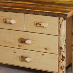 Log Bedroom Furniture - 3 Drawer Lowboy with a Split Top Drawer and Thick Barnwood Top