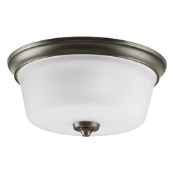 """Progress Lighting - Progress Lighting P3836-74 Lahara 13"""" Two-Light Flush Mount Ceiling Fixture - 2-Light Flush Mount in an Aged Pewter finish. Timeless style works with a variety of decors and coordinates with Delta's popular Lahara faucet design. Mounts up or down.Features:"""
