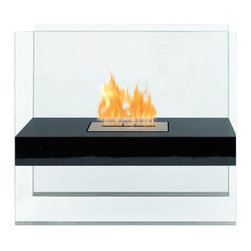Anywhere Fireplace - Madsion Ventless & See Through Freestanding Bio Ethanol Fireplace in Black - The elegance and clean design of the glass and black-coated Madison Anywhere Fireplace works in all settings, indoor or out. With no necessary installation, getting the fire started is as easy as adding fuel and clicking the lighter. No need for a vent or flue. This fireplace only emits water vapor and carbon dioxide. No Smell, No Smoke, No Fumes! Stepping off the hearth and out of the box, this ethanol burning fireplace is entirely portable, making it an easy installation and an even easier appliance. With the simple addition of bio-ethanol fuel, prepare to sit back and enjoy the warmth of real flames in just minutes.