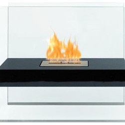 Anywhere Fireplace - Madsion Bio Ethanol Fireplace in Black - The elegance and clean design of the glass and black-coated Madison Anywhere Fireplace works in all settings, indoor or out. With no necessary installation, getting the fire started is as easy as adding fuel and clicking the lighter. No need for a vent or flue. This fireplace only emits water vapor and carbon dioxide. No Smell, No Smoke, No Fumes! Stepping off the hearth and out of the box, this ethanol burning fireplace is entirely portable, making it an easy installation and an even easier appliance. With the simple addition of bio-ethanol fuel, prepare to sit back and enjoy the warmth of real flames in just minutes.