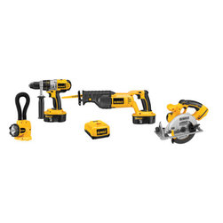 "Dewalt - 18V Xrp 4 Tool Combo Kit - Hammerdrill/drill/driver with 3-speed all-metal transmission and 1/2"" self-tightening chuck, max RPM, 0-500/0-1,250/0-2,000, max BPM 0-8,500/0-21,250/0-34,000, circular saw with 6-1/2"" carbide blade, 0-50 degree bevel capacity, 3,700 RPM, reciprocating sa  w with keyless blade clamp, 1-1/8"" stroke length, 0-3,000 SPM, flexible floodlight provides 3 hours of run time, extra-bright Xenon bulb. Includes: 4 tools, (1) hour charger, (2) 18V XRP batteries, (1) 360 degree side handle, (1) carbide tipped blade, (1)   kit box.      This item cannot be shipped to APO/FPO addresses.  Please accept our apologies"