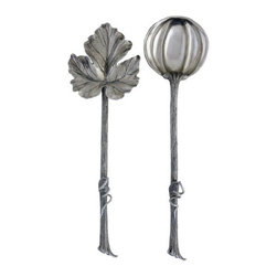 "Vagabond house - Autumn Vine Salad Servers - Dimensions: 4""W x 12""L"