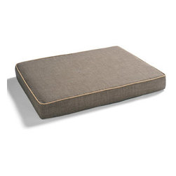 "Grandin Road - Isotonic Memory Foam Pet Bed - Open-design pet bed with comfortable, isotonic memory foam construction. Isotonic memory foam is an open-celled, breathable material that is temperature sensitive and visco elastic to help distribute pressure and body weight more evenly over the entire surface. Flat design makes entry for older or arthritic dogs easier. Durable microlinen cover zips off for easy machine washing. Give your older pet the maximum amount of comfort possible with the out-of-this-world material used in our Isotonic Memory Foam Pet Bed. Originally designed to keep NASA astronauts comfortable during extreme ""G"" force pressures, the isotonic foam distributes body weight evenly, while an extra layer of firmer foam adds support. The open, easy-access design also aids arthritic pets.  .  .  .  . Made in Canada."