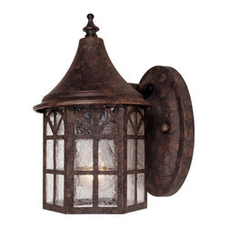 Savoy House - Manchester Wall Mount Lantern - Exterior fixture - mission style with copper edging in new tortoise shell finish with pale cream textured glass.