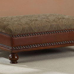 Dimensions - Nutmeg Bonded Leather/ Fabric Coffee Table Ottoman - Decorate your home with this practical coffee table ottoman. This ottoman features a stunning paisley print upholstery along with polished leather sides. Made from sturdy wood and durable foam fill, this ottoman is sure to last for years to come.