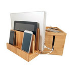 Great Useful Stuff - Bamboo Multi-Charger and Cord Cubby Combo, Small - 2 great products that together solve your charging and cord organization problems!