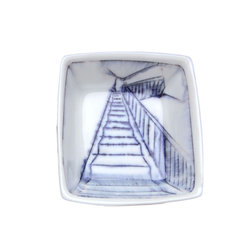 Nicole Aquillano Ceramics - Tiny Square Staircase Dish - Tiny porcelain square dish with inlaid drawing of a staircase, and Nicole's signature on the back. Perfect as a little dish for spices or herbs, as a stow place for your ring when things get messy, or for a little sauce or mustard! Tiny square measures approximately 2.75 x 3 x 1 inches.