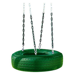 """Playtime - Single Axis Tire Swing - -Durable plastic construction. -Swing set accessory makes great addition to swing sets. -Fits children or adults. -Holds up to 120 pounds. -Diameter: 24"""". -16"""" hole in center. -Please note: Shown with black tire but only available with green molded plastic tire."""