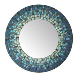 "Round Mirror - Blue Mosaic (Handmade), 30"" - DESCRIPTION"
