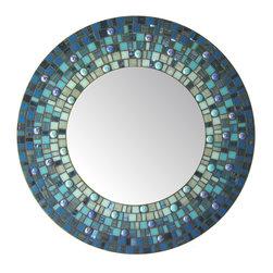 "Round Mirror - Blue Mosaic (Handmade), 30"" - DESCRIPTION"