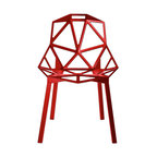 Magis - Chair One Stacking, Set of 2 | Smart Furniture - Like sculpture for your room, this set of two chairs is striking and supremely versatile. The angular forms are made of durable, lightweight aluminum coated in fiery red. And they stack to save space when not in use (which will be never). Sure they're modern, but they'd also look great paired with your rustic, reclaimed wood dining table.