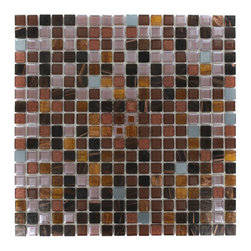 "Whimsical Rustic Bark Glass Tile - Whimsical Rustic Bark Glass Tile Add a pop to any room with these beautiful tiles that are versatile; great to use for back splash for a kitchen or a fireplace. This tile is great to use for the bathroom, kitchen or pool installation. Chip Size: 5/8"" x 5/8"" Color: Shades of Brown, Mirror Gray, Brown Glitter Material: Glass and Mirror Finish: Polished and Stained Sold by the Sheet - each sheet measures 11 3/4"" x 11 3/4"" (0.96 sq. ft.) Thickness: 3mm"
