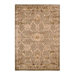 """Kathy Ireland - Kathy Ireland KI02 Santa Barbara KI301 2'1"""" x 7' Brown Area Rug 09959 - Lovely, light-filled hues and a subtle sheen infuse a leaf and vine design with a thoughtful sophistication and old world charm. Buckingham is elegant in its appeal and effortless in its sense of enduring style. Designed with a unique technique that highlights key design elements, this English countryside-inspired rug salutes the traditional in a marvelously modern way. Silk-like cut pile polypropylene creates an added dimension on ultra-soft, flat woven grounds."""