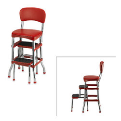 Cosco Retro Chair/Step Stool, Red - This classic barstool is great for extra seating, and it has a pull-out stool for reaching the tall cabinets (or cookies on top of the fridge).