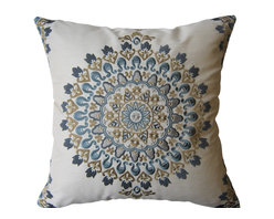 KH Window Fashions, Inc. - Blue and Tan Exquisite Embroidered Medallion Pillow, Without Insert - This exquisite embroidered medallion pillow belongs on any sofa or bed.  The back of the pillow is made of a solid ivory coordinating fabric.