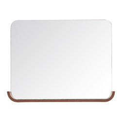 None - Avanity Siena 35-inch Chesnut Shelf Mirror - Change up your bathroom decor with the Avanity Siena mirror,which features a rimless design and rounded edges. A chestnut-colored shelf runs along the bottom edge,defining the mirror's shape and adding storage space.