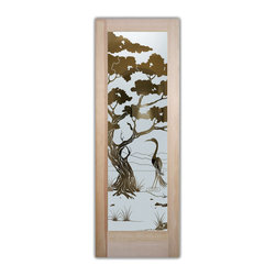 "Sans Soucie Art Glass (door frame material T.M. Cobb) - Interior Glass Door Sans Soucie Art Glass Bonsai & Egret - Sans Soucie Art Glass Interior Door with Sandblast Etched Glass Design. GET THE PRIVACY YOU NEED WITHOUT BLOCKING LIGHT, thru beautiful works of etched glass art by Sans Soucie!  THIS GLASS IS SEMI-PRIVATE.  (Photo is View from OUTside the room.)  Door material will be unfinished, ready for paint or stain.  Satin Nickel Hinges. Available in other wood species, hinge finishes and sizes!  As book door or prehung, or even glass only!  1/8"" thick Tempered Safety Glass.  Cleaning is the same as regular clear glass. Use glass cleaner and a soft cloth."