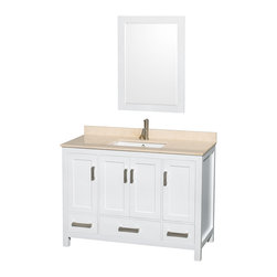 "Wyndham Collection - Sheffield 48"" White Single Vanity, Ivory Marble Top & Undermount Square Sink - Distinctive styling and elegant lines come together to form a complete range of modern classics in the Sheffield Bathroom Vanity collection. Inspired by well established American standards and crafted without compromise, these vanities are designed to complement any decor, from traditional to minimalist modern. Available in multiple sizes and finishes."