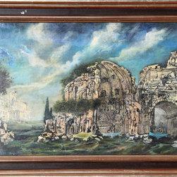 Franco Minei, Rovini, Oil on Wood - Artist:  Franco Minei, Italian (1922 - )