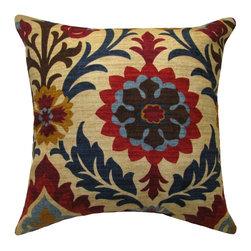 Land of Pillows - Waverly Santa Maria Gem Damask Style Floral Decorative Throw Pillow, 20x20 - Fabric Designer - Waverly