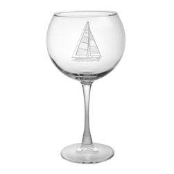 Rolf Glass - Sailboat Wine Glass, Clear, 7.875x3.438, Balloon - The important thing isnt where you are going, its staying in motion. What better way to keep afloat than with our sailboat collection. You can almost feel the wind in your hair, while you sip on a refreshing cocktail out of these double etched designs.  Made in USA.
