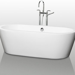 """Wyndham Collection - Wyndham Collection 71"""" Mermaid White Soaking Bathtub w/ Chrome Drain - The Mermaid Soaking Tub is an expression of modern design, practicality and just plain luxury. Elegant symmetry, soft curves that counter the minimalist lines, and soothing water conspire to coax you into your bathroom haven once again. What could be better? Built to last and always warm to the touch, the Verona Bathtubs are a perfect place to melt away tension and stress, leaving you refreshed, recharged and renewed."""