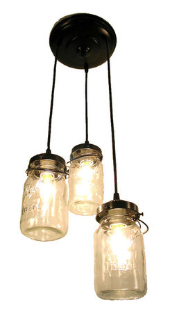 Mason Jar Chandelier Trio with Vintage Quart Jars, Antique Black - A handcrafted chandelier lights a trio of clear, vintage canning jars keeping their aged charm with the original wire-bails and raised lettering.