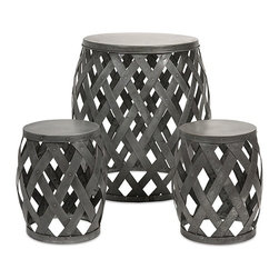 "IMAX CORPORATION - Kenwood Braided Table and Stools - Set of 3 - The barrel-shaped bodies of this accent table and two stools are crafted of loosely woven iron sheet. Set of 3 tables in varying sizes measuring approximately 17.5-28.75""H x 12-21.25""W x 12-21.25"" each. Shop home furnishings, decor, and accessories from Posh Urban Furnishings. Beautiful, stylish furniture and decor that will brighten your home instantly. Shop modern, traditional, vintage, and world designs."