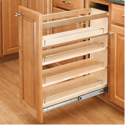 "Cabinet Accessories - Base Organizer with Adjustable Shelves for 9"""" Frameless Full Height Base Cabinet Natural Wood."