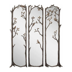 Uttermost - Perching Birds Decorative Mirror, Set of 3 - Why have only one mirror when you can admire your reflection three times? This set of statuesque decorative mirrors is framed by twisted vines with perching birds. The heavily antiqued silver leaf finish has a gray wash and burnished distressing to add age and interest.