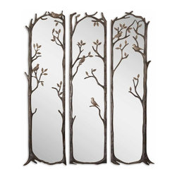 Uttermost - Perching Birds Decorative Mirror Set of 3 - Why have only one mirror when you can admire your reflection three times? This set of statuesque decorative mirrors is framed by twisted vines with perching birds. The heavily antiqued silver leaf finish has a gray wash and burnished distressing to add age and interest.