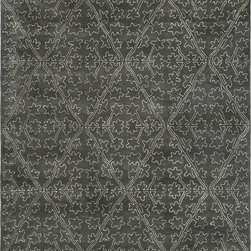 """MSR3258E Martha Stewart Rug - 7'9""""x9'9"""" - Derived from a 17th-century Italian fabric document, the surprisingly modern pattern in Strolling Garden replicates outlined laid work called couching. In the original archival textile, this technique involves cording applied to satin cloth; in this modern version, viscose yarns are used to outline the same lustrous pattern against Strolling Garden��_s cut-pile background of New Zealand wool."""