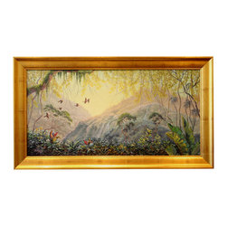 'Mystical Rain Forest' Framed Oil Painting - Make a scene. Renowned scenic artist, Bridget Duffy, painted this original piece of artwork. The tropical landscape is a serenely beautiful addition to your contemporary home, but the gilded wood frame allows it to transition into more traditional spaces as well.
