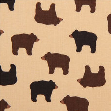 fabric brown designer bear animal fabric with small brown bears