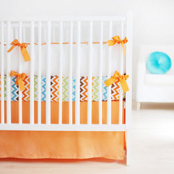 New Arrivals - New Arrivals Crib Bedding Sweet & Simple Tangerine - Reflecting the whimsy and joy of life, New Arrivals delivers fun and function to a child's room. The Sweet & Simple crib bedding's beautiful mix of solid color fabrics awakens a space with contemporary style. This tangerine orange and white linen set includes a sophisticated bumper and bed skirt. Optional crib sheet available. Bumper offers optional customizable initials, first name, middle name or last name monogram in a variety of fonts and hues. Crib sheet and crib skirt made in the USA.