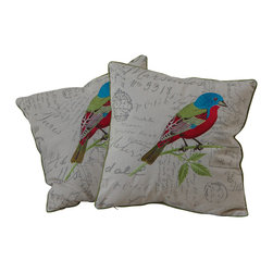 """Best Selling Home Decor - 18"""" Embroidered Bird Pillows (Set of 2) - Give your home an update with this attractive pillow set. These pillows feature a linen blend cover for soft elegance. Set includes: Two pillows; Pattern: Emroidered Bird; Color options: Light Green, Light Blue, Red; Cover closure: Hidden zipper closure; Edging: Knife edge; Pillow shape: Square; Dimensions: 18 inches wide x 18 inches long; Cover: Linen Blend; Fill: 100-percent Polyester; Care instructions: Spot clean with a damp cloth."""