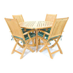"Westminster Teak Furniture - Barbuda 5pc Teak Patio Table and Folding Chairs - Includes 4 ft dia Round Teak Folding Table and 4 Folding Teak Armchairs. Umbrella Ready.  Perfect for Yachts & Small Areas. Lifetime Warranty. Rated ""Best Overall"" by Wall Street Journal."