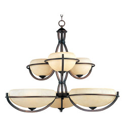 Maxim Lighting - Maxim 22106FLOI - Six Light Oil Rubbed Bronze Frost Lichen Glass Up Chandelier - Category: Multi-Tier Chandelier