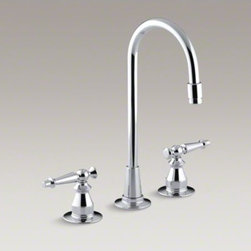 KOHLER - KOHLER Antique three-hole bar sink faucet with lever handles - The perfect finishing touch for traditional decor, this Antique bar sink faucet brings nostalgic charm to your entertainment area or kitchen. Two lever handles complete the look, while allowing you to control hot and cold water separately to achieve your