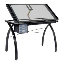 Drafting Table with Glass Top - The perfect multi-functional contemporary table, the Futura Drafting Table with Glass Top is great for drafting, drawing, or crafting on its large tempered safety-glass work surface.