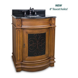 """Hardware Resources - Elements Bathroom Vanity - This 29"""" wide MDF vanity has carved scroll detail with two toned toffee finish. The bow front shape adds style to this classic vanity. A large cabinet provides ample storage. This vanity has a 2 cm black granite top preassembled with an H8809WH (15"""" x 12"""") bowl, cut for 8"""" faucet spread, and corresponding 2 cm x 4"""" tall backsplash. Overall Measurements: 29"""" x 22"""" x 36-1/4"""" (measurements taken from the widest point) - Faucet must be purchased separately."""