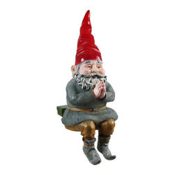 MORDECAI Glowing Gnome Solar Garden Sitter Statue - The Gnomes Of Toad Hollow are a collection of garden gnomes that add whimsy and imagination to your garden or patio. This gnome, named Mordecai, is a sitter gnome, and can be placed on tables, birdbaths, pond walls and window boxes. Mordecai is solar powered, and a clear LED in the bottom turns on automatically in dark conditions, making his body glow warmly, lasting up to 10 hours under a full charge. Made of cold cast resin, the gnome measures 12 inches tall, 9 inches wide and 5 inches deep. He`s hand-painted, and shows great detail. He makes a wonderful gift for any gnome collector lover.