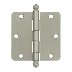 Deltana - 3.5 in. x 3.5 in. x 0.25 in. Radius Steel Hinge w Ball Tips - Pair (Set of 10) ( - Finish: Brushed Chrome. Pair. Residential steel hinge with ball tips. Pictured in Satin Nickel. Corners: 0.25 in. Radius. Thickness: 0.085 in.. Wood screw: No.9 x 0.75 in.. 3.5 in. L x 3.5 in. W