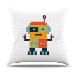 "Kess InHouse - Daisy Beatrice ""Happy Robot"" Multicolor Throw Pillow (26"" x 26"") - Rest among the art you love. Transform your hang out room into a hip gallery, that's also comfortable. With this pillow you can create an environment that reflects your unique style. It's amazing what a throw pillow can do to complete a room. (Kess InHouse is not responsible for pillow fighting that may occur as the result of creative stimulation)."