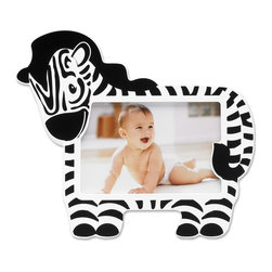 Lawrence Frames - Nursery Collection - Zebra 6x4 - Adorable Zebra picture frame. Cute animal themed picture frame is the perfect compliment to any nursery or makes the perfect gift. High quality black wood backing with easel for table top display. Individually boxed.